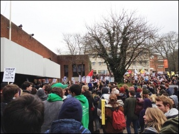 Students protesting at Sussex university, 25.3.13, photo Suzanne Beishon