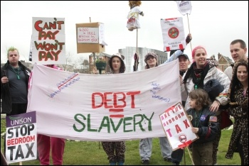 Hull protest against the Bedroom tax - Debt = Slavery, photo Lash