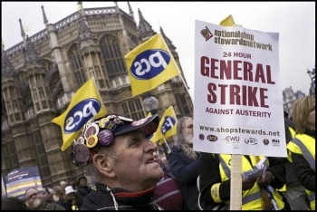 PCS strike on budget day, 20 March 2013 with NSSN 24 hour general strike placard, photo Paul Mattsson