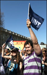 NUT and UCU strike action in London on 28 March 2012 , photo by Senan