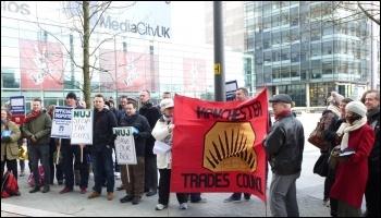 NUJ and Bectu strikers at BBC Salford Media City, 28.3.13, photo by Paul Gerrard