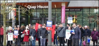 NUJ and Bectu strikers outside the BBC building, Salford, 28.3.13, photo by Paul Gerrard
