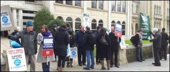 NUJ and Bectu strikers in Bristol, 28.3.13, photo by Tom Baldwin