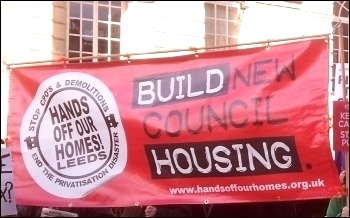 Leeds Hands off our homes: Build New Council Housing, photo Leeds SP