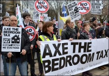 2013 Glasgow demonstration against the bedroom tax, which has now been defeated in Scotland, photo Jim Halfpenny