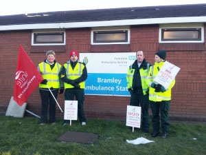 Unite pickets at Bramley ambulance station, photo I Dalton
