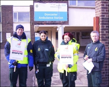 Doncaster Unite ambulance strikers, photo by A Tice