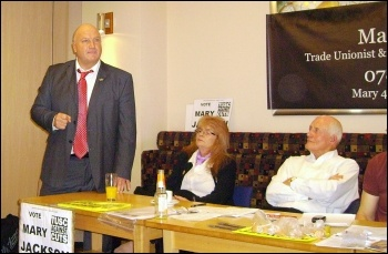 Bob Crow, RMT general secretary (left) and Tony Mulhearn, Liverpool 47 (right), addressed a TUSC meeting in Doncaster for candidate Mary Jackson (centre). photo A Tice