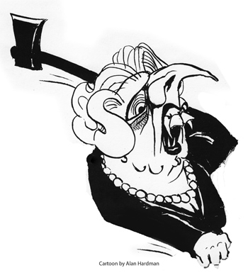 Former prime minister Margaret Thatcher, as she will always be remembered, cartoon by Alan Hardman