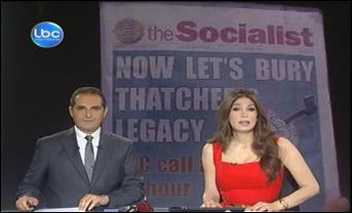 The most-watched Lebanese TV news programme shows The Socialist newspaper's headline during an item discussing reaction to Thatcher's death, photo of LBC screen shot