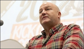 Bob Crow speaking at the Socialism 2012 Saturday Rally, photo Senan