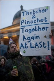 Party in Trafalgar Square, London, celebrating the death of former UK premier Margaret Thatcher , photo Paul Mattsson