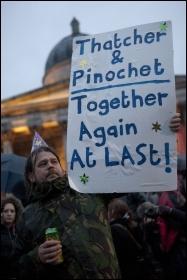 Party in Trafalgar Square, London, celebrating the death of former UK premier Margaret Thatcher , photo Paul Mattsson