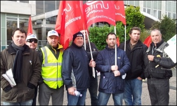 Rob Williams (NSSN) joins Ford Dagenham protest outside Ford UK headquarters, photo P Mason