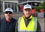 Dennis Varney (right) supporting the Ford Dagenham protest outside Ford UK headquarters, photo P Mason