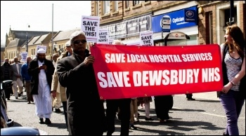 Demo to save services at Dewsbury hospital, 20.4.13, photo by John Rattigan