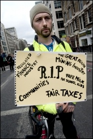 Protests at Thatcher's Funeral, photo Paul Mattsson