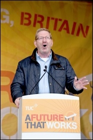 Len McCluskey of Unite speaking at the 20 October 2012 TUC demo against austerity , photo Paul Mattsson
