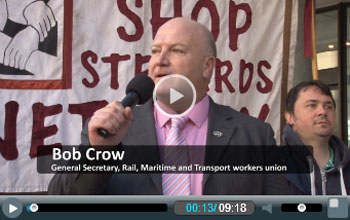 Bob Crow addresses NSSN lobby of TUC general council meeting