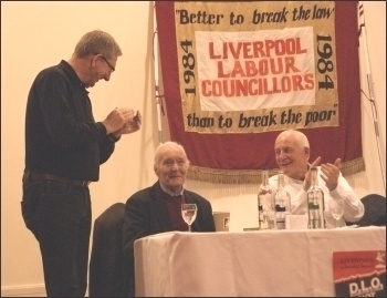 Applauding Tony Benn; Rally marking 30 years since election of Liverpool's socialist council, photo Harry Smith