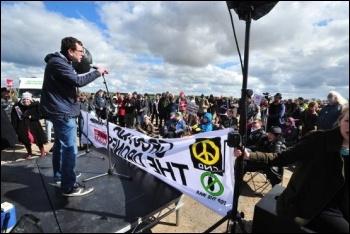 Nick Parker addressing anti-war demonstrators, 27.4.13, photo .