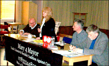 Mary Jackson speaking at the excellent pre-election rally attended by 55 people, many at their first TUSc meeting, 29 April 2013, photo by Mary4Mayor