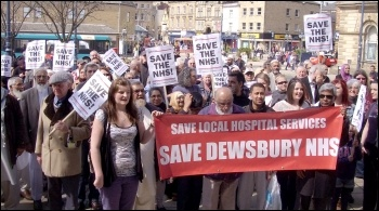 Save our local hospital services (SOLHS) demonstration, held on Saturday 20 April 2013 in Dewsbury. , photo Dawn Wheelhouse