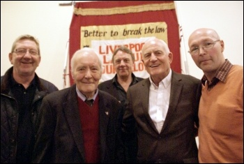 Tony Benn (2nd left) at a Liverpool 47 rally, 27.4.13: with (left to right) Len McCluskey, Paul Astbury, Tony Mulhearn and Dave Walsh, photo Harry Smith