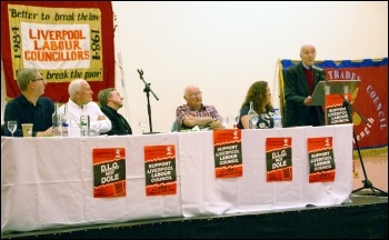 Liverpool 47 rally, on 30th Anniversary: platform left to right: Len McCluskie,Tony Mulhearn, Paul Astbury, Peter Taaffe, Fran Heathcote, and Tony Benn. , 27.4.13, photo Harry Smith