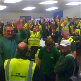 Brighton & Hove bin workers staging a sit-in, 8.5.13