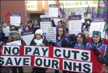Unison staff at Pinderfields hospital strike, photo by Iain Dalton