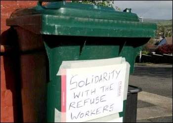 Widespread support for the Brighton bin workers shown on some bins in the area, photo by Support Brighton Council workers Facebook page