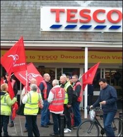 Sacked Tesco drivers, 18.5.13 , photo by John Gill