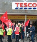 Sacked Tesco drivers, 18.5.13 , photo John Gill