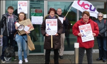 Socialist Students  plus UCU and Unison activists, Salford university protest, 23.5.13 , photo Salford Socialist Party