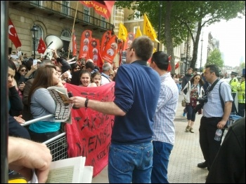 Demonstrating in London against brutality by the security forces in Turkey, photo by C. Newby