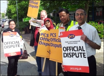 Barking Job Centre PCS on strike 5 June 2013, photo Socialist Party