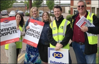 5 June 2013: Maidstone PCS picket  (eight on the picket lines) sends fraternal greetings to the NSSN -  'we'll be sending delegates to the conference on June 29th. Solidarity!'
