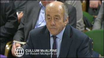 Cullum McAlpine of McAlpine Ltd giving evidence to a Commons Select Committee investigating the illegal activity of blacklisting, photo by BBC Panorama still