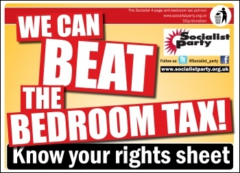 We can beat the bedroom tax, graphic by  Socialist Party