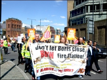 London Firefighters demonstrate against the closure of Bow firestation, photo Naomi Byron
