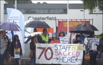 Demonstrating against compulsory redundancies at Chesterfield College, 20.6.13, photo by E Evans
