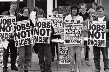 Blyth YRE in Action Rolan - Adams Rohit Duggal - Stephen Lawrence - No More Racist Murders - Close down the BNP HQ, photo Militant