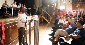 Michael Ologun, Unite shop steward from  Equinox Care, speaking at NSSN conference, 29.6.13 , photo Senan