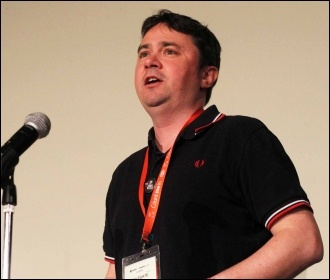 Rob Williams speaking at NSSN conference, 29.6.13 , photo by Senan