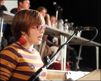 Helen Pattison speaking at NSSN conference, 29.6.13, photo by Senan
