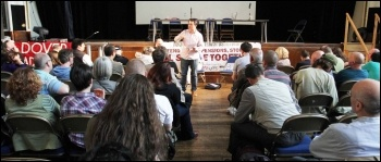 Octay Sahbaz, Day-Mer, speaking to the workshop on Turkey at NSSN conference, 29.6.13, photo by Senan