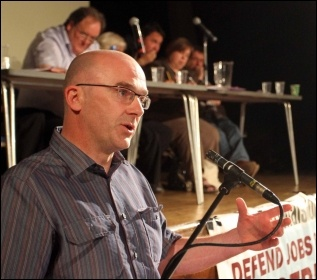 Padraig Mulholland, Nipsa president, speaking at NSSN conference 29.6.13, photo by Senan