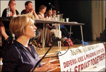 Suzanne Muna, Unite housing workers branch, speaking at NSSN conference 29.6.13, photo by Senan