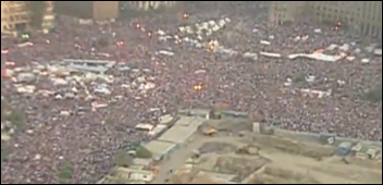 Mass protest in Egypt 1 July 2013 calls for the president to resign, photo Screen shot from video released by Egyptian military